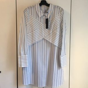 "BCBG ""Azriel"" white cotton w blue stripes dress"